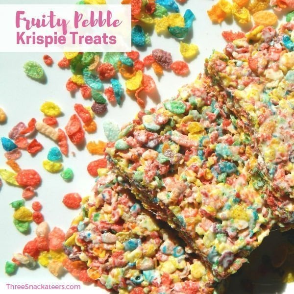 Fruity Pebble Krispie Cereal Treats - Square