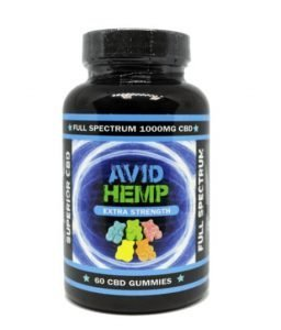 Avid Hemp 5, 15, 30 and 60 count bottles of CBD Gummies, 17 mg of CBD per gummy