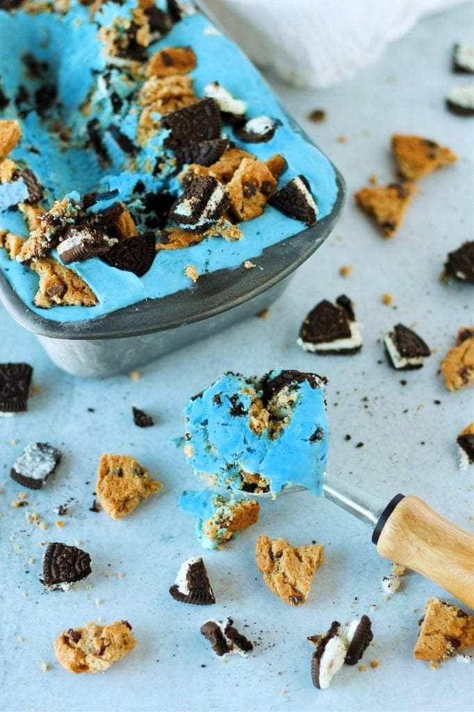 blue ice cream loaded with oreos and chocolate chip cookies