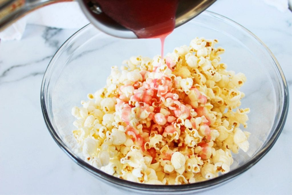 easy pink popcorn recipe for colored popcorn