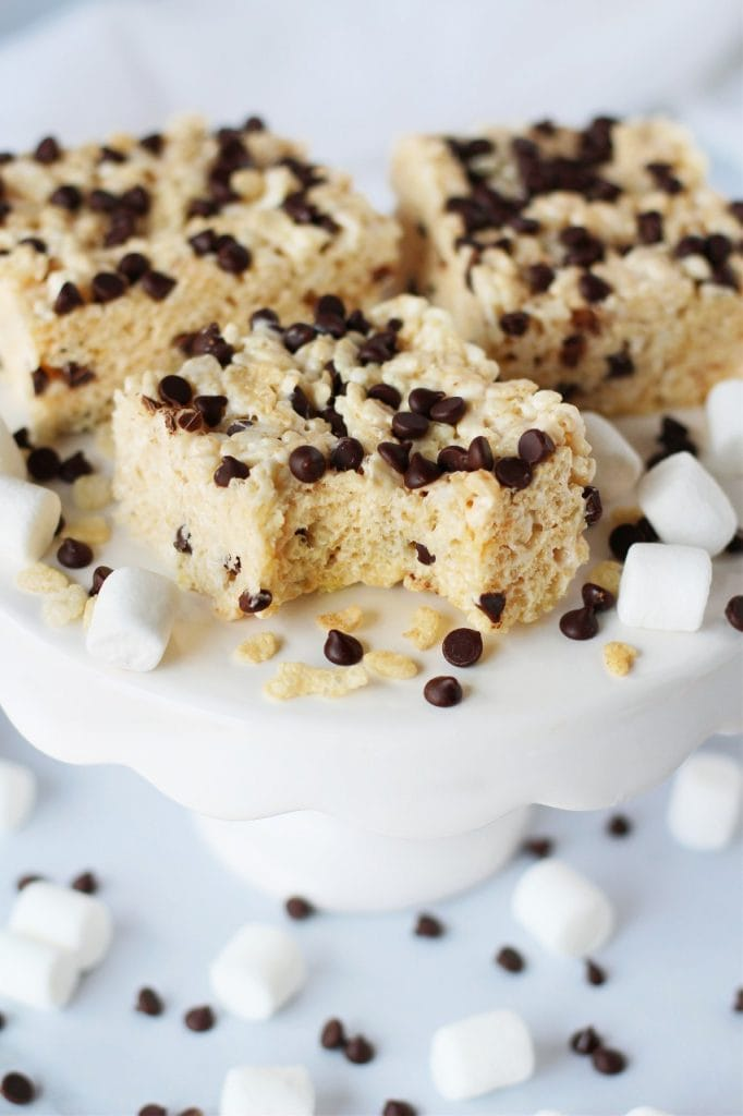 rice krispie treats with chocolate chips on top