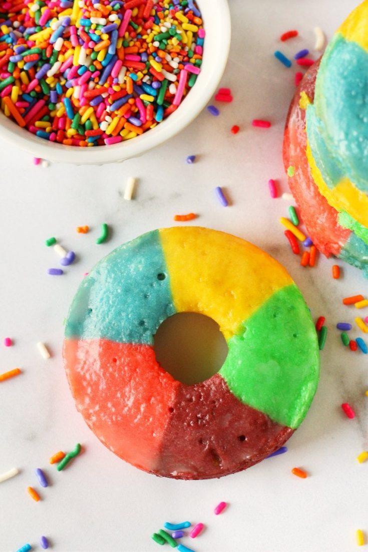 Baked Cake Mix Rainbow Donuts