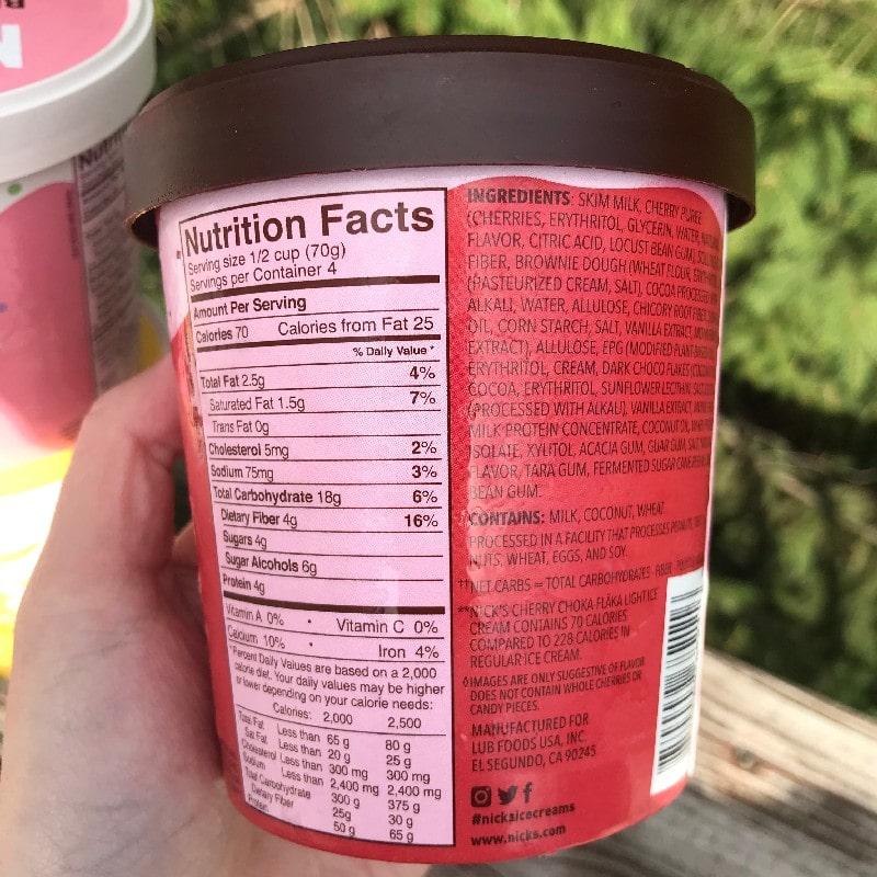 Nicks Swedish Ice Cream Cherry Choka-Flaka Nutrition Panel