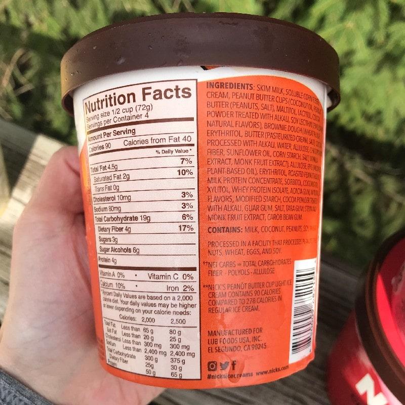 Nicks Swedish Ice Cream Peanot Butter Cup Nutrition Panel
