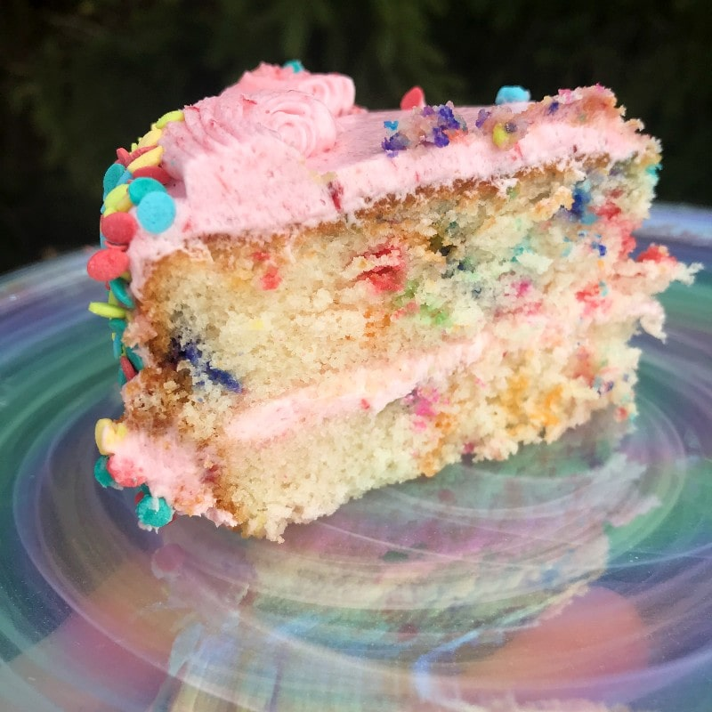 Bake Me A Wish Strawberry Funfetti Cake Slice