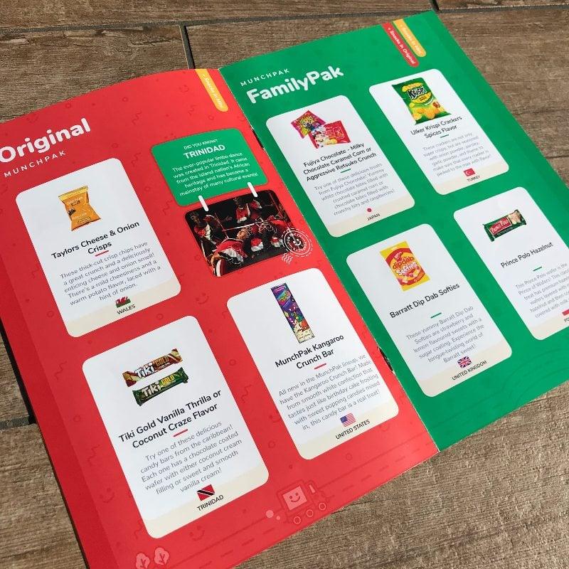 MunchPak Snack Subscription Box Helpful Booklet