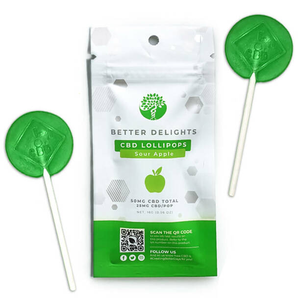 Better Delights CBD Lollipops Green Apple